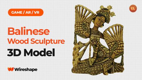 Balinese Legong Dancer Wood Sculpture - Real-Time 3D Scanned