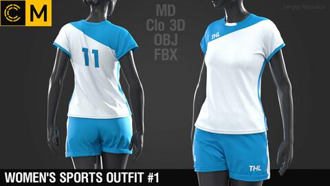 Women's sports outfit #1 / Marvelous Designer / Clo 3D project + obj / fbx