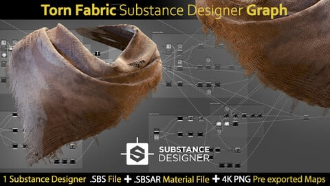 Torn Fabric Substance Designer Graph-sbs-sbsar-pre-exported 4k maps
