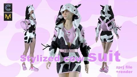 STYLIZED COW SUIT/ CLO3D MARVELOUS DESIGNER ZPRJ+RENDER