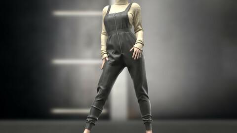 Female Overalls. Marvelous Designer , Clo3d . Project File + OBJ + FBX