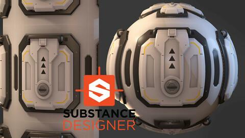 Stylized Sci-Fi Hatch Material - Substance Designer