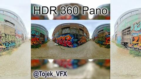 HDR 360 Panorama Small Alley DTLA Graffiti set 73 (Set pano 2 of 3)