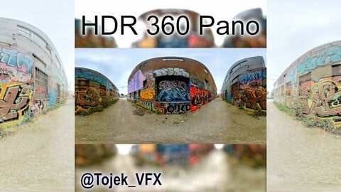 HDR 360 Panorama Small Alley DTLA Graffiti set 81 (Set pano 3 of 3)