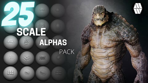 25 Scale Alphas - Custom made Reptile Alphas to use in ZBrush