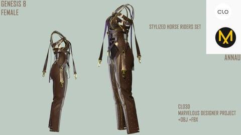 GENESIS 8 FEMALE: STYLIZED HORSE RIDERS SET: CLO3D, MARVELOUS DESIGNER PROJECT| +OBJ +FBX