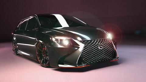 Toyota Fielder and nousercut Lexus GH450 3D model