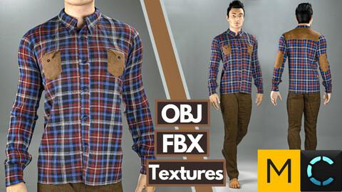 Marvelous Designer + Clo3d + OBJ + FBX + TEXTURES : Men's casual shirt & pants