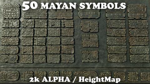 50 Mayan Symbols Heightmap - Alpha