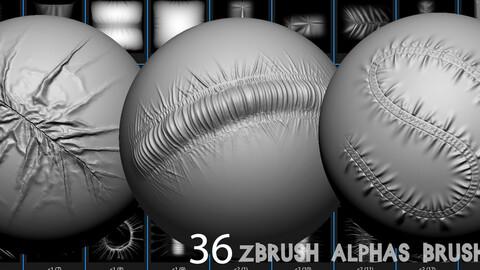 36 Zbrush Alphas Brush cloth