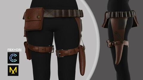 Female Leather Outfit Marvelous Designer/Clo3d project + OBJ + FBX