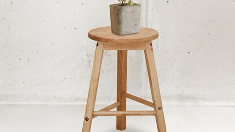 Solid wood round 450 stool