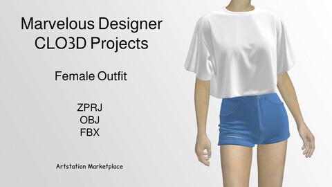 Female Outfit-Shirt-Shorts- Marvelous Designer & CLO3D Projects+ OBJ+FBX