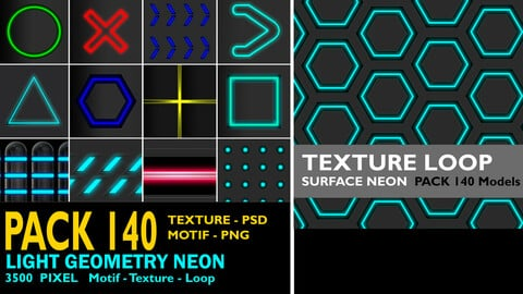PACK 140 LIGHT+ NEON -Texture Loop - Motif and spatial surface