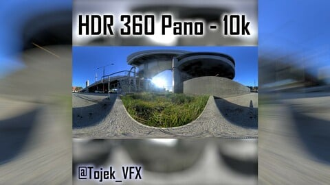 HDR 360 Panorama 1st Street Viaduct DTLA 97 grassy side