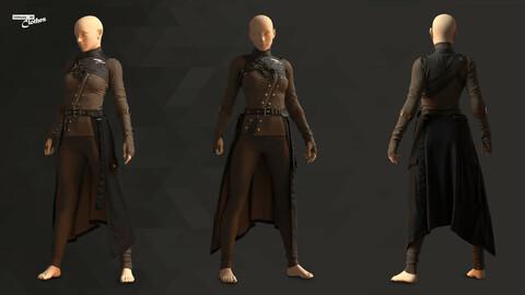 Female Assassin Costume - 64 Marvelous Designer and Clo3D + OBJ + FBX