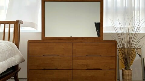Brahms rubber wood 3-tier wide chest of drawers
