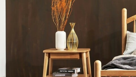 Hedy Rubber Wood Side Table 2colors