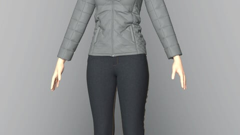 Casual style. Jeans + jacket. Clo3d