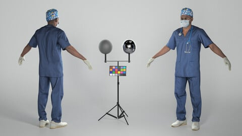 Surgical doctor in sterile mask and gloves in A-pose 308