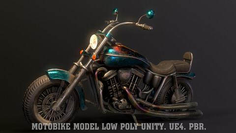Motobike model low poly Unity. Ue4. PBR.