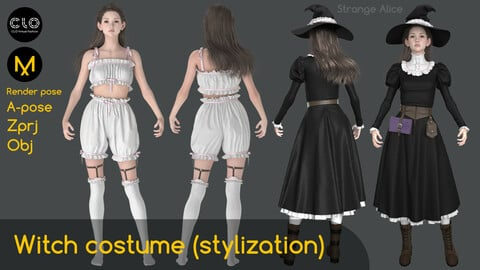 Witch costume stylization. Clo3d, Marvelous Designer projects.