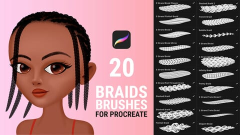 Hair Braid Brushes for Procreate