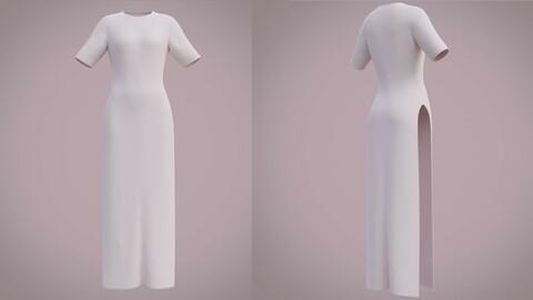 Slitted dress - 3D Female shirtt dress