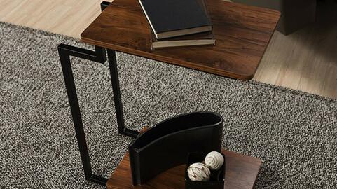 Brunt steel two-tier side table