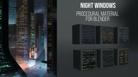 Night Windows procedural material for Blender