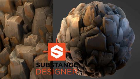 Stylized Rock Cliff - Substance Designer