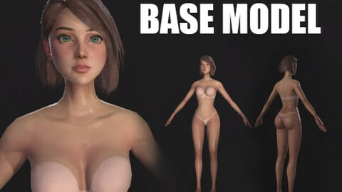 Stylised Girl Base Mesh - Game Ready, Low Poly Model.