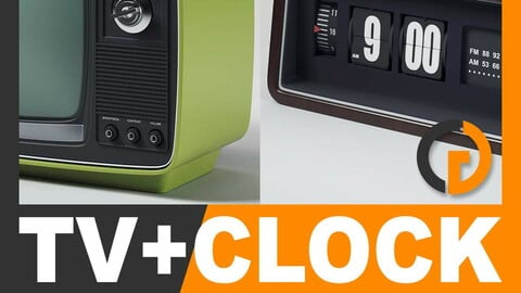 Retro Television Set and Radio Alarm Flip Clock