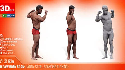 Cleaned 3D Body scan of Larry Steel Standing Flexing