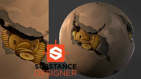 Stylized Wall with Coins - Substance Designer