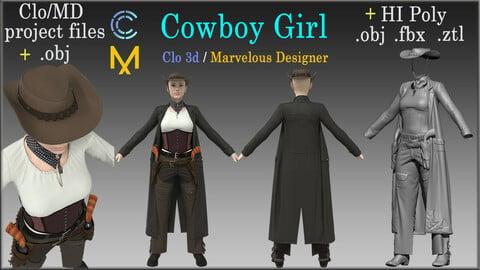 Cowboy Girl / Marvelous Designer, Clo3d project + HI Poly All Cloth