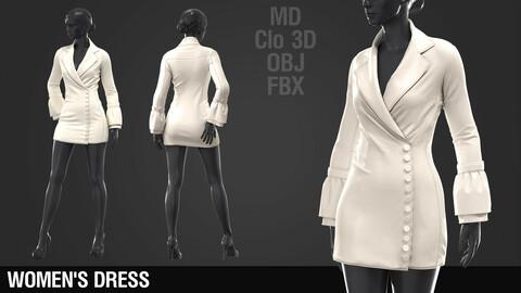 Women's Dress #1 / Marvelous Designer / Clo 3D project + obj + fbx