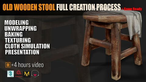 Old Wooden Stool Full Creation Process + Game Ready