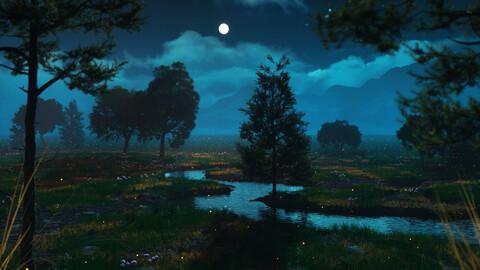 C4D Octane Night forest firefly scene Valley mountain grassland plain river