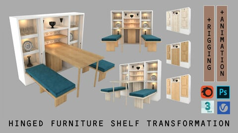 Hinged Furniture Shelf Transformation + Rigging and Animation (3 wood versions)