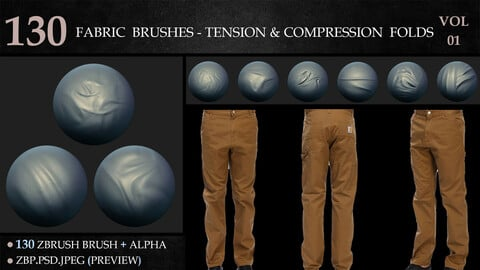 130 Fabric Brushes - Tension & Compression Folds