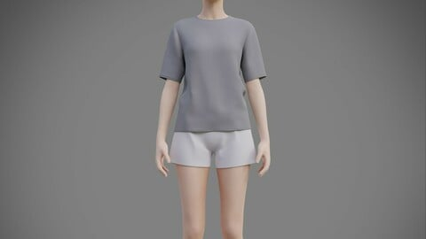 Womens pyjamas - 3D female casual outfit