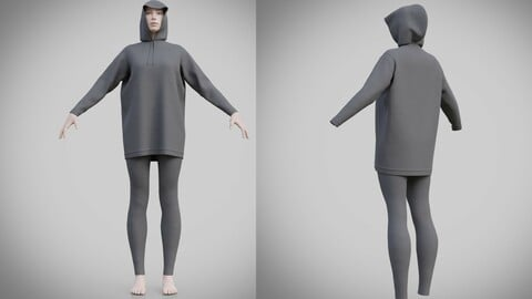 3D female jogger apparel - hoodie outfit