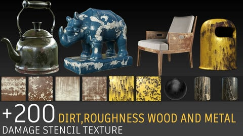 +200 stencils: dirt and damage, roughness, metal, wood