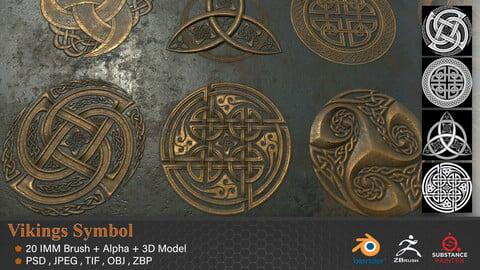 20  Viking Symbols Alpha + 3DModel + IMM Brush - VOL 01