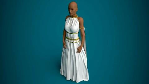 Egyptian Dress with imitation jewelry