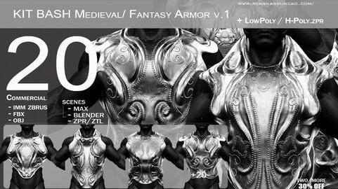 KitBash 20 Medieval/Fantasy Armor IMM - .obj/.fbx/.zpr./.blend/.max