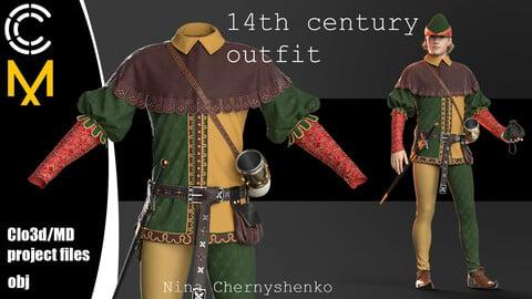 14th century outfit. Marvelous Designer/Clo3d project + OBJ.