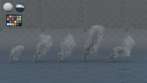 5x FX VDB Smoke plumes, 120 frames, mid-res to background, 1x hi-res to foreground
