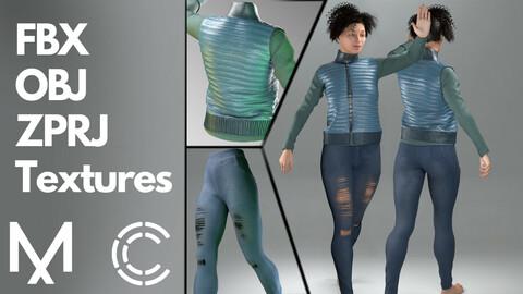 Marvelous Designer + Clo3d + OBJ + FBX + Texture : Down vest & jeans